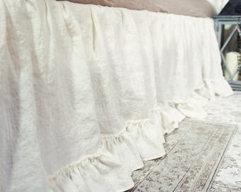 Linen bed valance with ruffles- Softened linen dust ruffle- Vintage look French style linen bed skirt- Softened linen coverlet