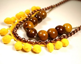 Necklace Copper Chain Ceramic Beads Yellow Pom Poms Oxidized Brass Fashion Under 50 Gifts Sunset Necklace