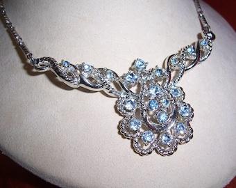 Vintage Coro Blue Rhinestone Bib Choker Necklace