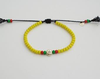 Yellow rasta  bracelet - adjustable cannabis bracelet - african beads - reggae bracelet - ganja bracelet  - rastafarian