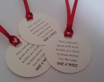 10 Wedding bubble tags labels favour tags place onto bubbles wedding vow renewal confetti