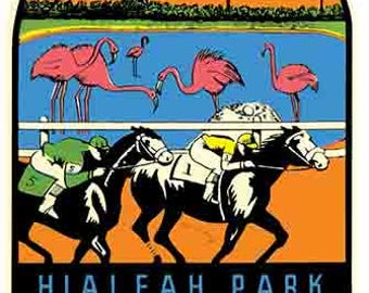Vintage Style Hialeah Park Miami Florida racing  Travel Decal sticker