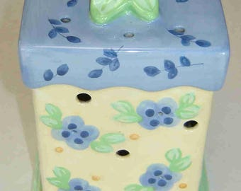 """Spring Sale-20% Off - PFALTZGRAFF """"SUMMER BREEZE"""" Two (2) Piece Large Pierced Candle or Incense Holder- Blue & Pale Yellow - Was 16.95"""