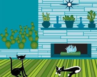 Cactus Cats - 12x12 Giclee Print Mid-Century Modern Kerry Beary Black Cats