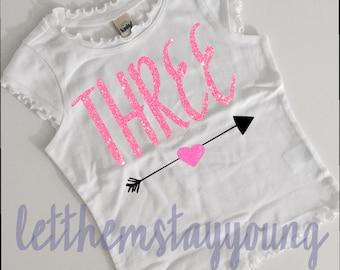Third Birthday Shirt 3rd Birthday shirt  Baby Girl Shirt Baby Girl Custom Birthday Shirt Gold Pink Glitter  Birth Day