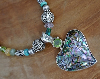 Beaded Necklace...Sterling silver with abalone pendant