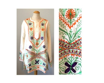 Vintage 60s Hippie Top L Embroidered Unisex Tunic