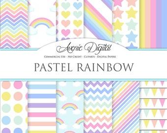 Pastel Rainbow Digital Paper Scrapbook Backgrounds Sky patterns Commercial Use. multicolor stars polka dots stripes
