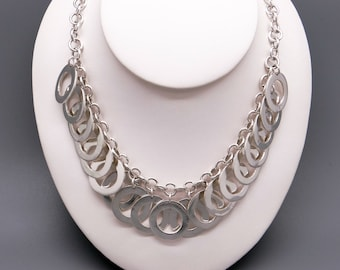"Bohemian Gypsy Handmade Sterling Silver Circle Link Chain Adjustable Toggle Necklace 16"" to 18"""