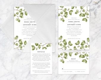 Printable Wedding Invitation Set, Green Foliage Leaves Twigs Botanical Wedding Invitation Set, Plant Leaf Green Brown Wedding Invitation Set