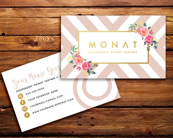 Monat Business Cards Buyer Cards || Custom Monat Hair Care Pink Geometric Floral Watercolor