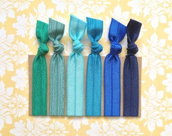 Pick 6 Handmade Elastic Hair Ties, Customize, Personalize, 48 Colors to Choose From,