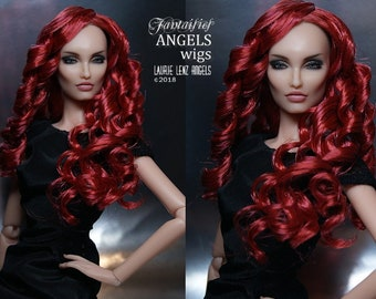 Saran hard cap wig for Kingdom Doll KD  --  FURY -- Flame Auburn and Red Red Wine wig -- Laurie Lenz ANGELS Doll Studio