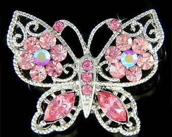 Swarovski Crystal Dainty Pink BUTTERFLY Bridal Wedding Spring Pin Brooch Jewelry Best Friend Mother's Day For Her Christmas Gift Cute New