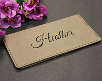 Personalized Faux Leather Checkbook Cover, Checkbook Wallet, Check Book Cover, Engraved Checkbook Cover, Checkbook Cover, Finances, Budget