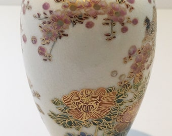 Vintage Chinese Porcelain Vase with Hand Painted Flowers