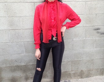 Vintage red Red Button up with Scarf Glam 70's