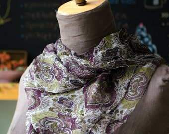 Vintage Indian Brown Floral Shawl - patterned square shawl with purple-brown, green, white details