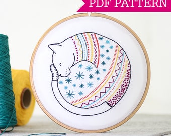 Cat PDF Embroidery Pattern - Instant Download - Embroidery Pattern PDF - Download Embroidery Pattern - PDF Embroidery Design