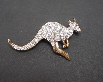 Rhinestone kangaroo brooch, vintage diamante gold tone metal