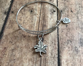 Leaf bangle, fall bangle, fall bracelet, fall jewelry, personalized bracelet, gifts for her, expandable