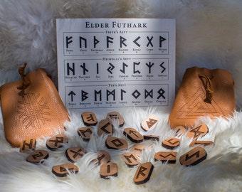 Viking Rune Set / Wood Carved Runes & Leather Pouch, Elder Futhark