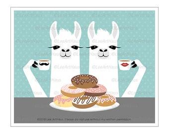 73J - Donut Art Prints - Two Llamas Eating Stack of Donuts Wall Art - Coffee and Donuts - Coffee Shop Decor - Doughnut Wall Art - Llama Art