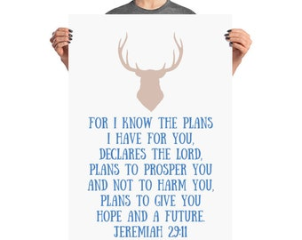 Nursery Poster Art Baby Shower Home Decor Wall Art Bible Verse Jeremiah 29 11 For I know the plans Print Farmhouse Antler Rustic Flower
