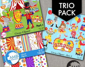 TRIO Circus Clipart and Digital Pack, Circus Animals and Clowns, Birthday Party, Party invitations, Commercial Use, AMB-1638