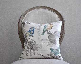 Bird Pattern Pillow Cover | Bird and Air Mail Pillow | Bird Print Pillow Cover | Cottage Pillow Cover