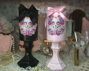 Day Of The Dead Día de los Muerto Vase Centerpiece Home Decor Mexican Art Decoupage Painted Can Pastel Goth Gothic Skulls Shabby Chic OOAK