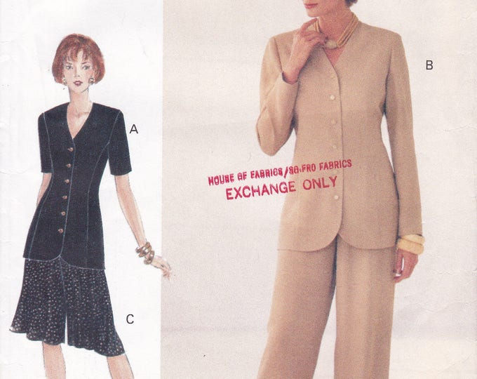 FREE US SHIP Vogue Woman 8987 Sewing Pattern Out of Print Jacket Shorts Pants Suit Size 12 14 16 Bust 34 36 38  Retro 1990s 90's ff