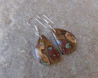 Large unique Boulder Opal earrings, earthy & precious, handmade in Australia by NaturesArtMelbourne, gem stone jewellery