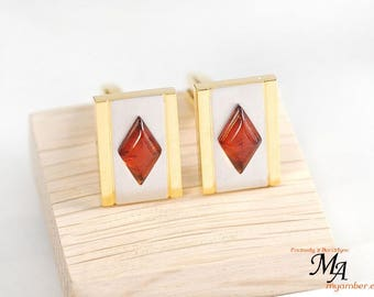 14199 Elegant Cufflinks with Amber Stone + Certificate cuff links man