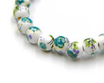 5/10 porcelain beads, 8mm, flower pattern