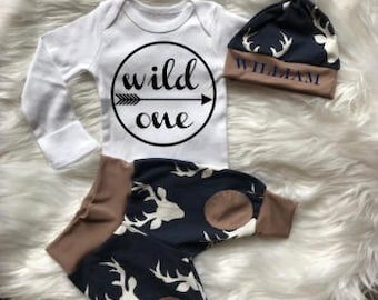 BABY BOY/Baby Boy Coming Home Outfit/Baby Shower Gift/Newborn Boy Coming Home Outfit/Baby Boy Clothes/Baby Hat/Baby Gift/Woodland/New Mom