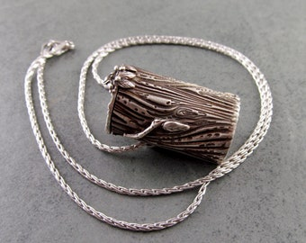 Mailbox pendant, handmade recycled fine silver .999 locket necklace-OOAK