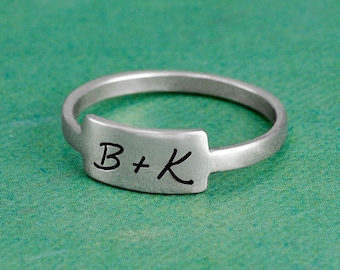 Handwriting Rectangle Ring Made with Your Handwriting