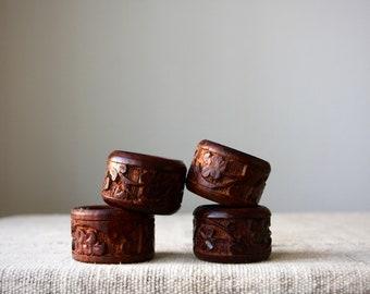 Vintage Hand Carved Rosewood/Sheesham Wood Napkin Rings, Set of 4