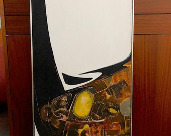 Vintage Mid Century Modern 1970s Abstract Oil on Canvas Modernist Painting by Texas artist Sleepy Read Modern Art