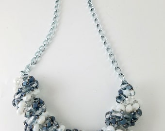 Gray and White Spiral Stitched Necklace