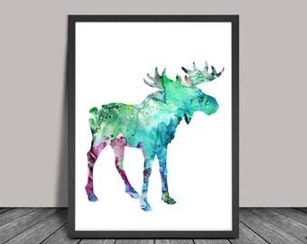 Moose Watercolor Print, Moose Art Print, Watercolor Print, Watercolor Painting, Moose Home Decor Poster, Animal Painting (122)