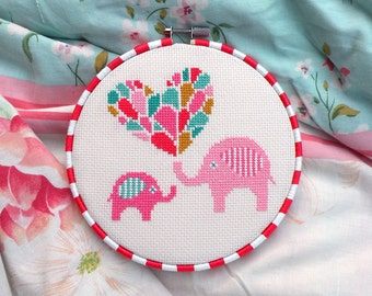 Cute Elephant Counted Cross Stitch Pattern PDF – Parent & Baby – Nursery Décor – Heart Chart – Instant Download