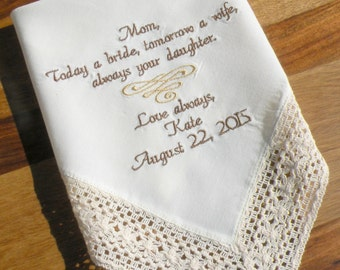 Ivory Wedding hanky Mother of the Bride Future Mother InLaw Mom Embroidered Wedding Handkerchief Wedding Gift for Mom by Canyon Embroidery
