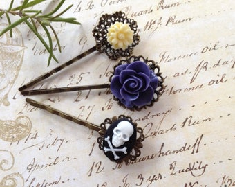 Periwinkle Rose And Skull Bobby Pins