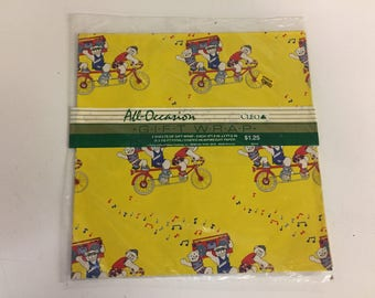 Vintage All Occasion Bears on a Bike with Boombox Gift Wrap Bright Yellow WOW
