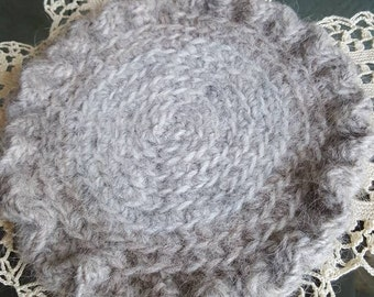 Grey and Brown Mat with Ruffled Edge