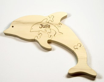 Wooden Dolphin Puzzle, Wooden Dolphin Toy, Dolphin Puzzle, Dolphin Toy, Baby Dolphin Puzzle, Baby Dolphin Toy, Personalized Toy