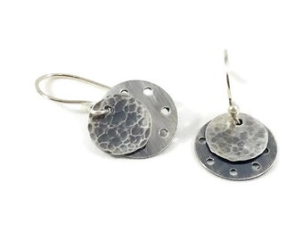 Sterling Silver Earrings - Handmade Earrings - Textured Earrings - Small Earrings