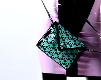 Latex black and turquoise handbag